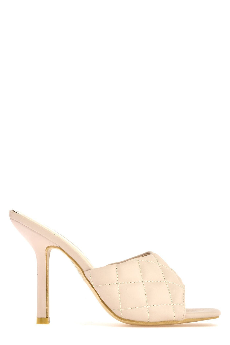 Panama Mid Heel Quilted Front Open Toe Mules In Nude Heels Miss Diva