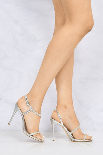 Savannah Anklestrap Diamante High Heel in Silver