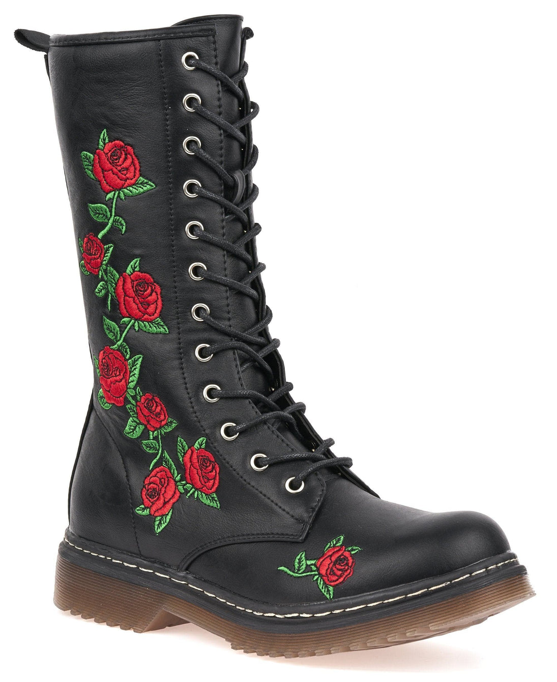 Polly Rose Print Lace Up Boot in Black Matt