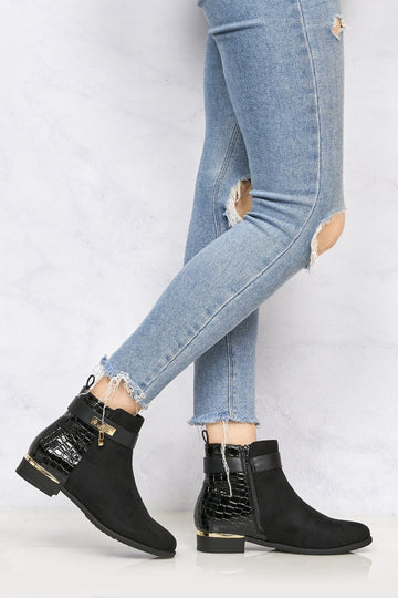 Gold Trim & Croc Heel Ankle Boot in Black Suede