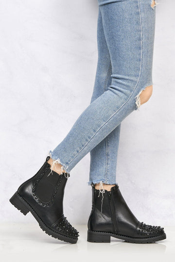Emma Stud & Spike Detail Ankle Boot in Black Pu