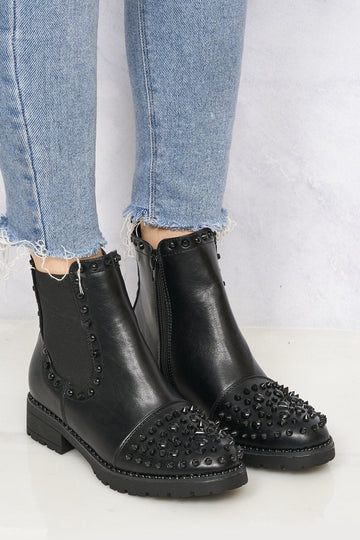 Preetie Stud & Spike Detail Ankle Boot in Black Pu