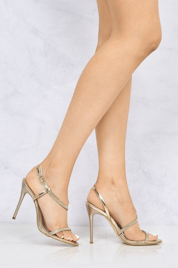 Savannah Anklestrap Diamante High Heel in Rose Gold