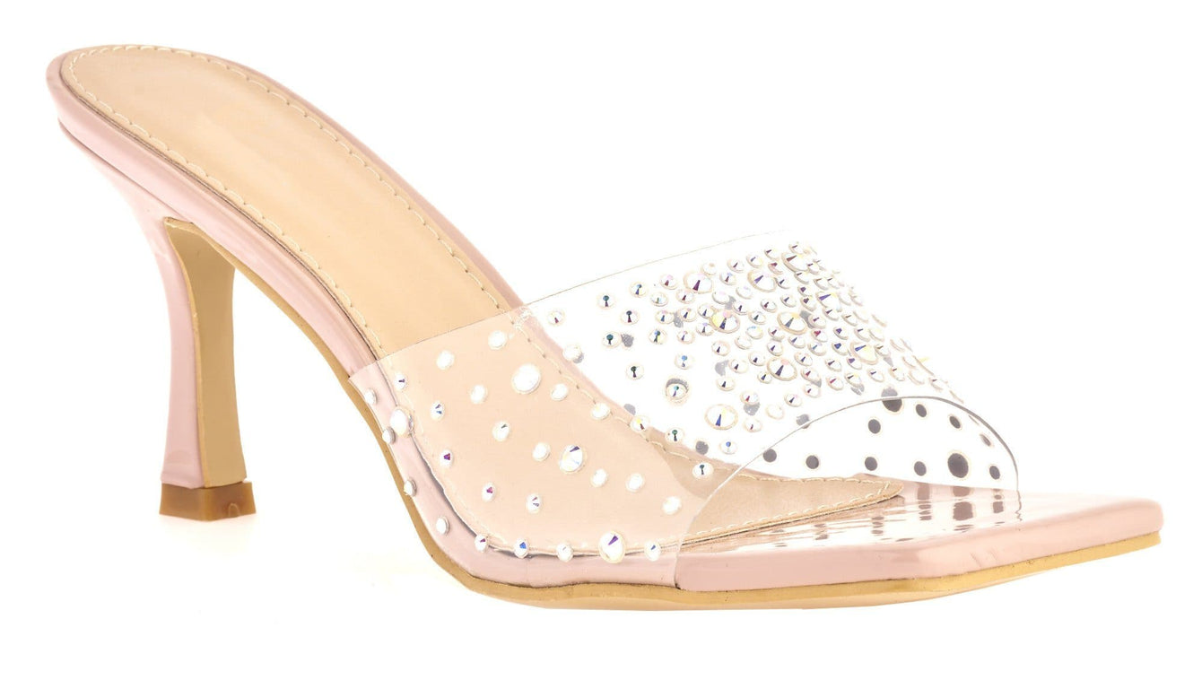 Kiki High Heel Perspex Diamante Detail Open Toe Mule In Nude