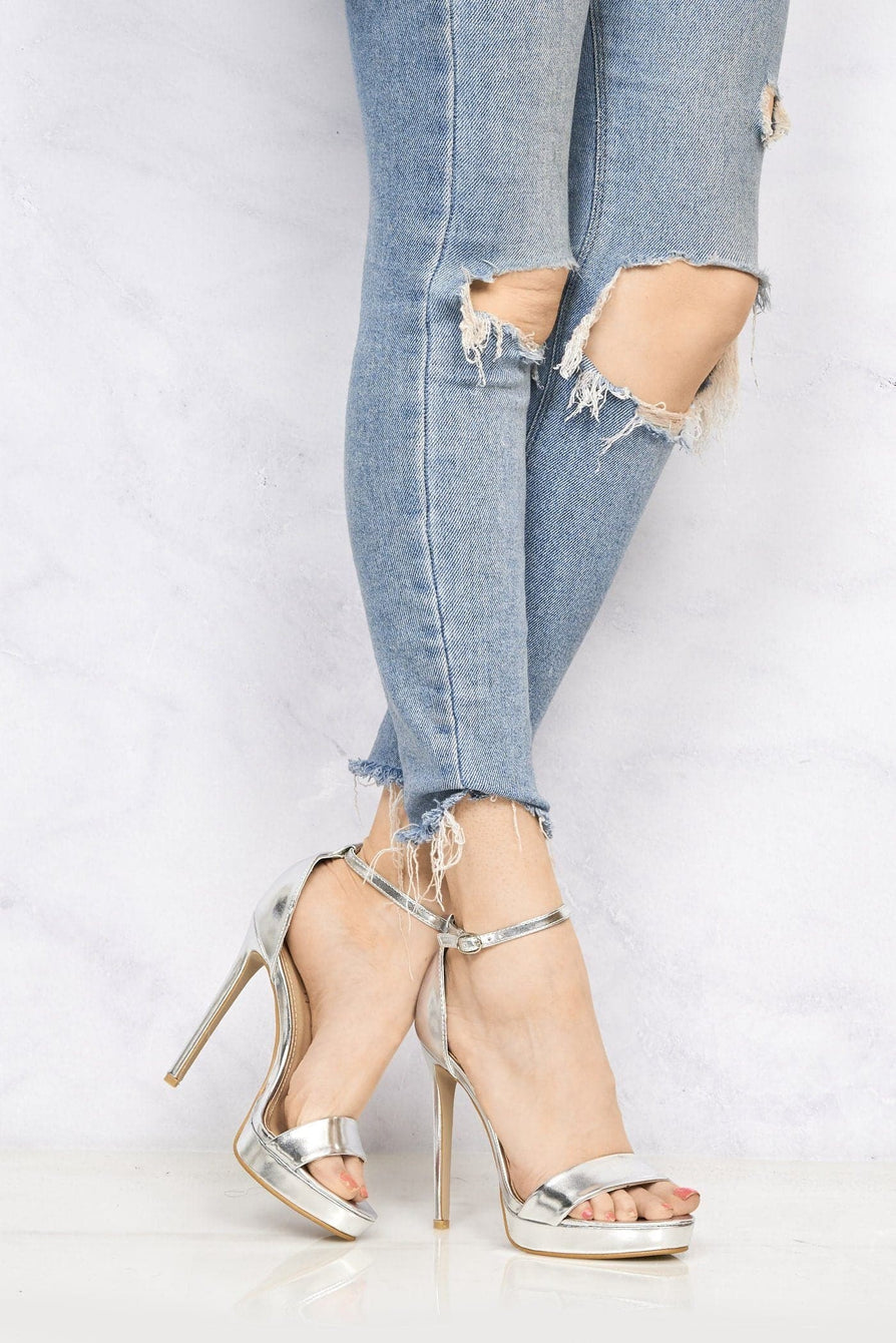 Barely There Platform Sandal in Silver Pu
