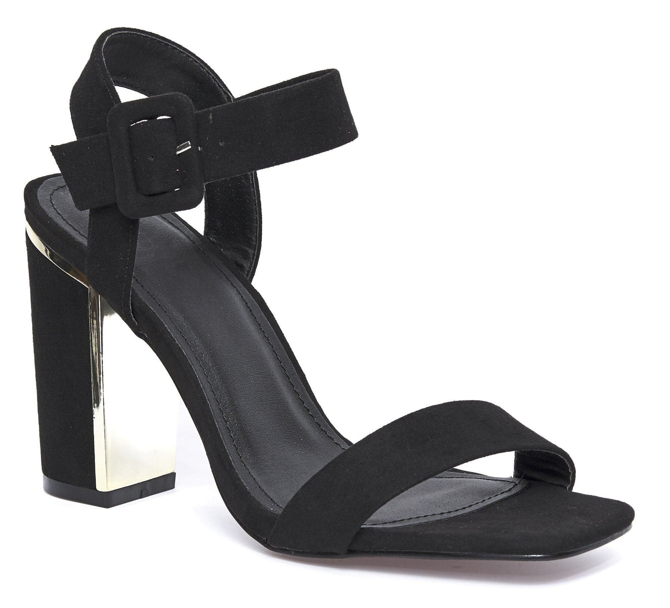 Thick Anklestrap Block Heel Sandal in Black Suede