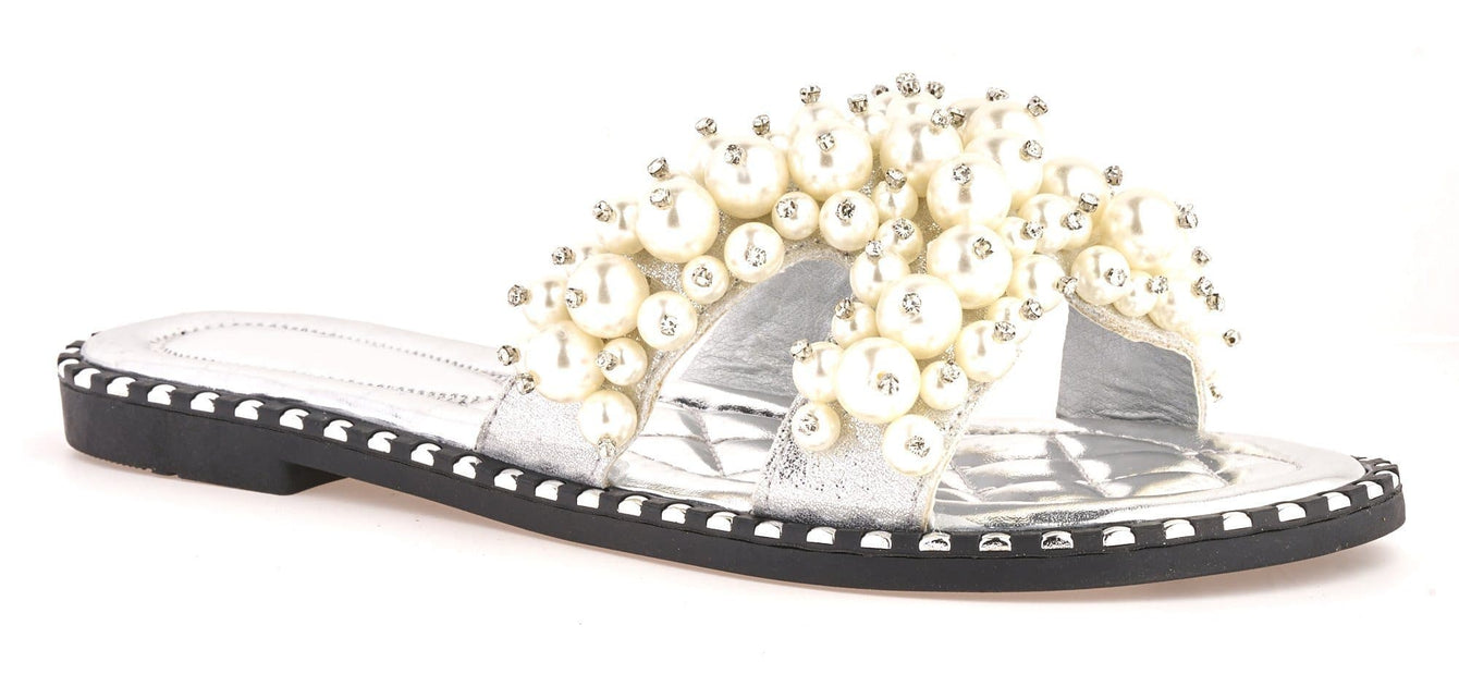Aloha Open Toe Criss Cross Pearl Front Silver Stud Rim Detail Slider In Silver