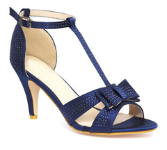 Peeptoe Bow & Diamante Stud Sandal in Navy