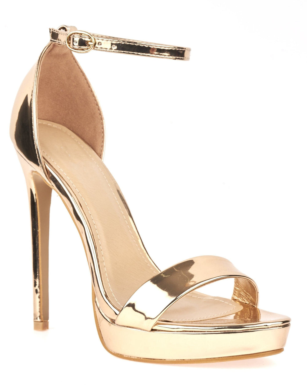 Barely There Platform Sandal in Rose Gold Pu