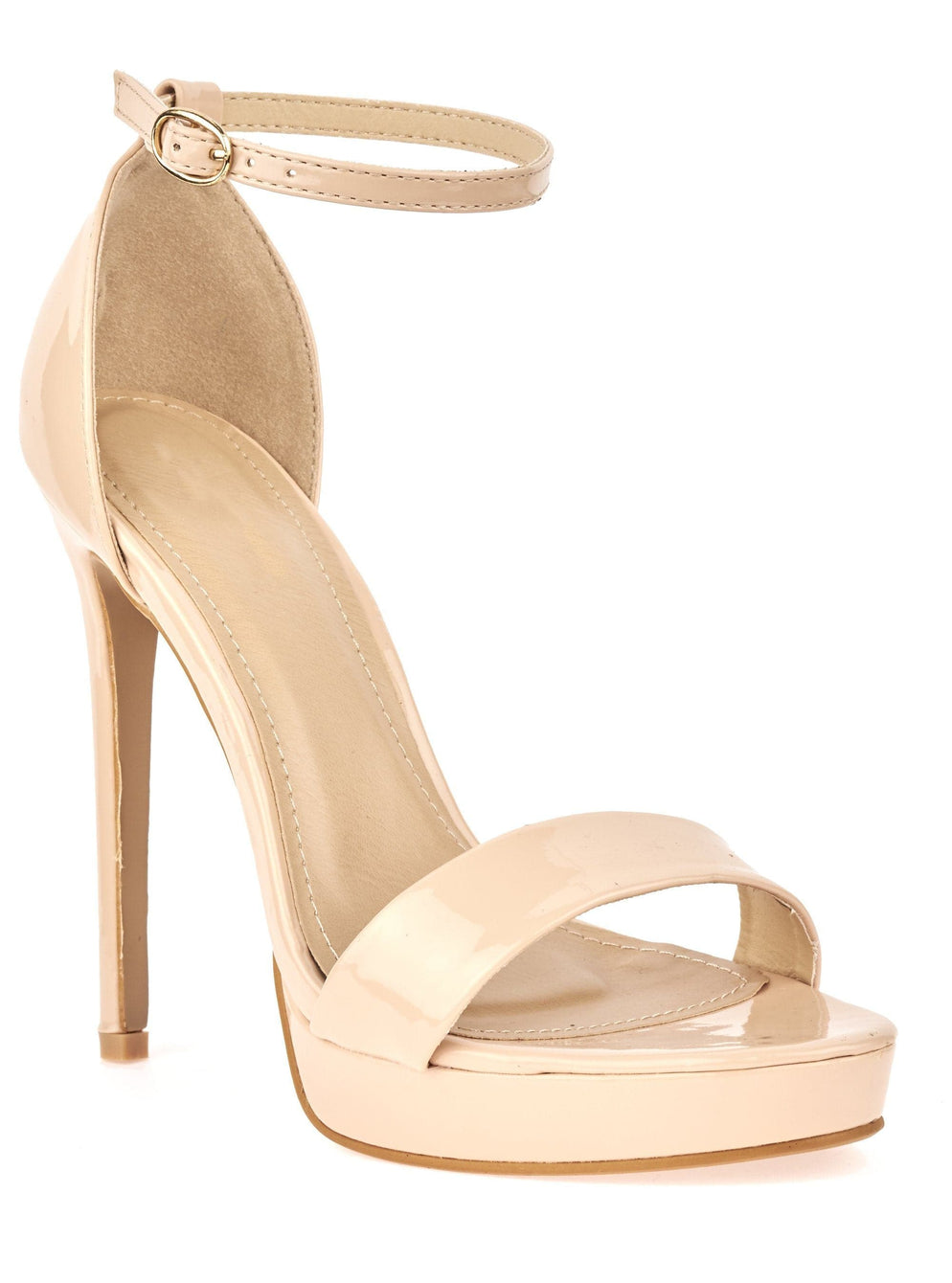 Ella Barely There Platform Sandal in Nude Patent