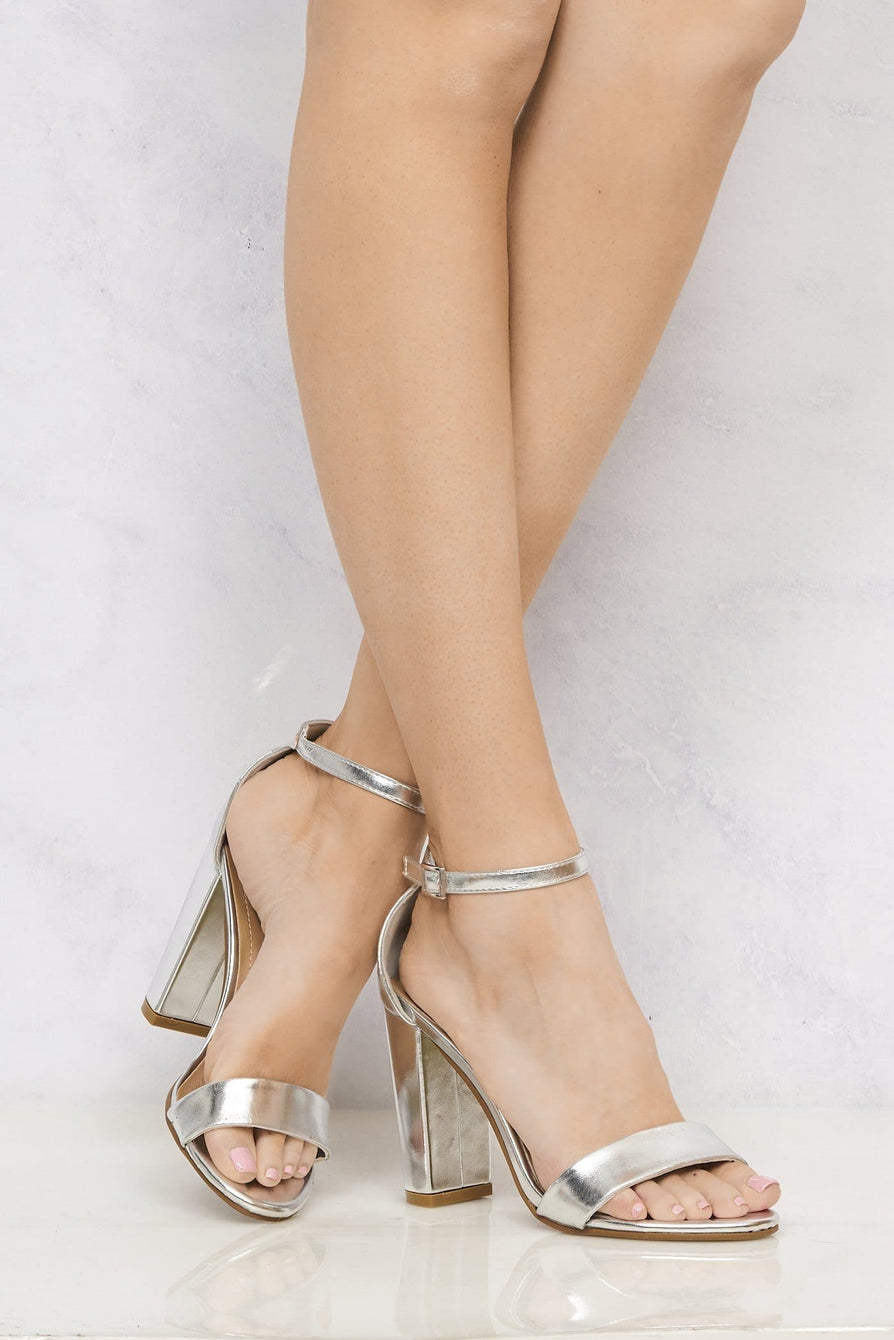 May Barely There Block Heel Ankle Strap Sandal In Silver Heels Miss Diva Silver 3