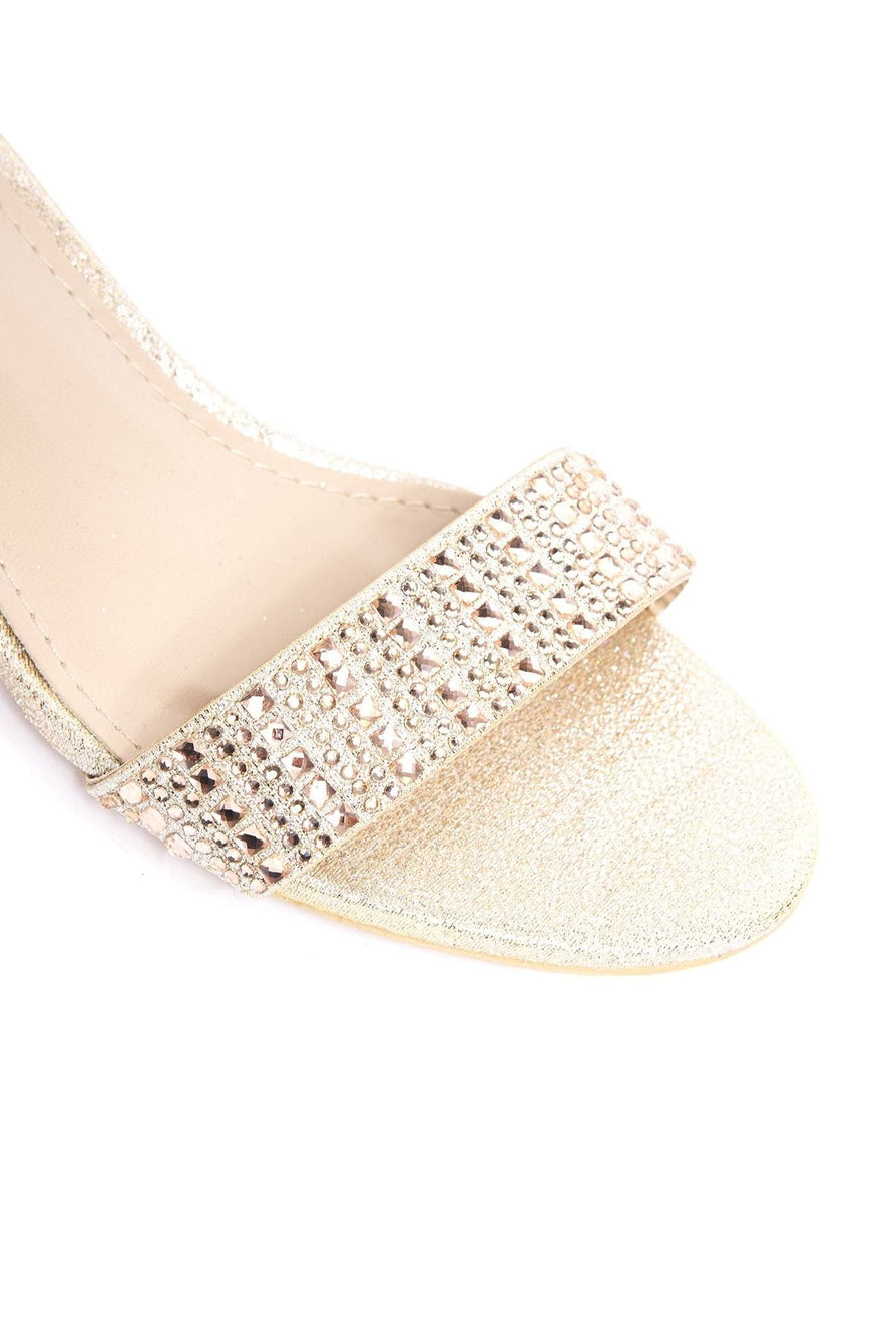 Diamante Stud Heel & Band Sandal in Champagne