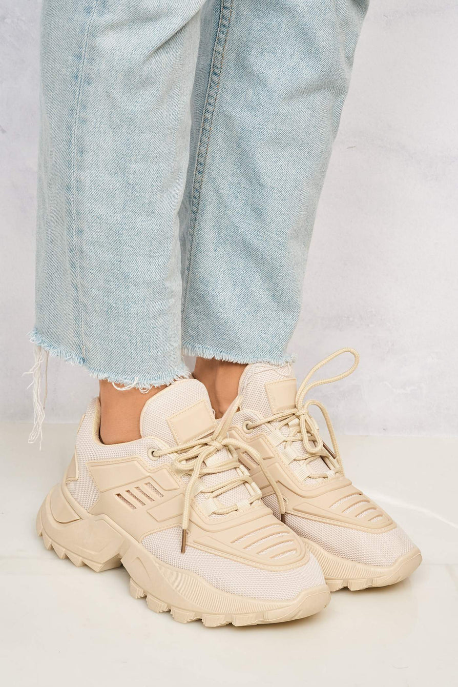Antonia Platform Lace Up Trainer in Beige