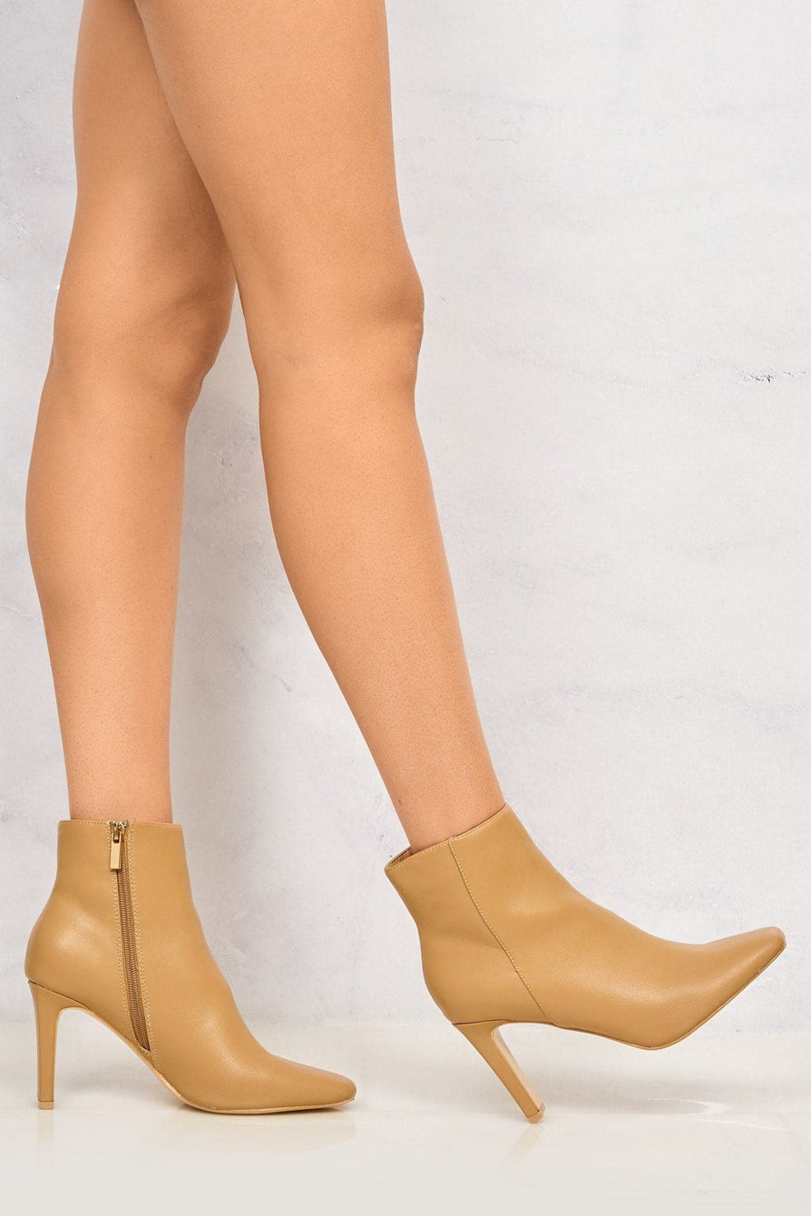 Merlin Pointed Toe Flare Heel Ankle Boot in Beige Boots Miss Diva