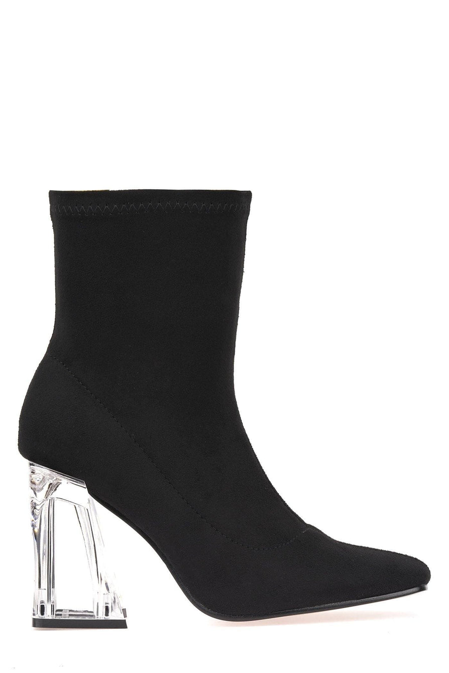Pharella Pointed Glass Heel Calf Boot in Black Suede