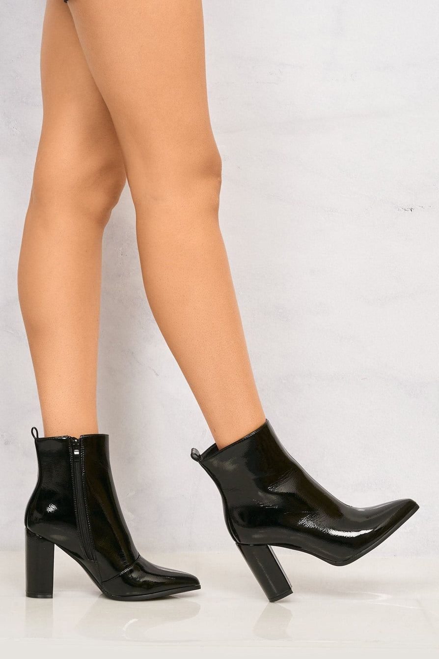 Pattie Pointed Toe Block Heel Boot in Black Patent Boots Miss Diva Black Patent 3