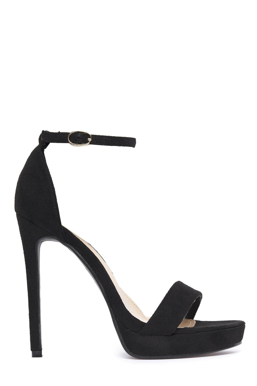Barely There Platform Sandal in Black Suede