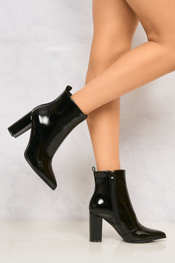 Pattie Pointed Toe Block Heel Boot in Black Patent