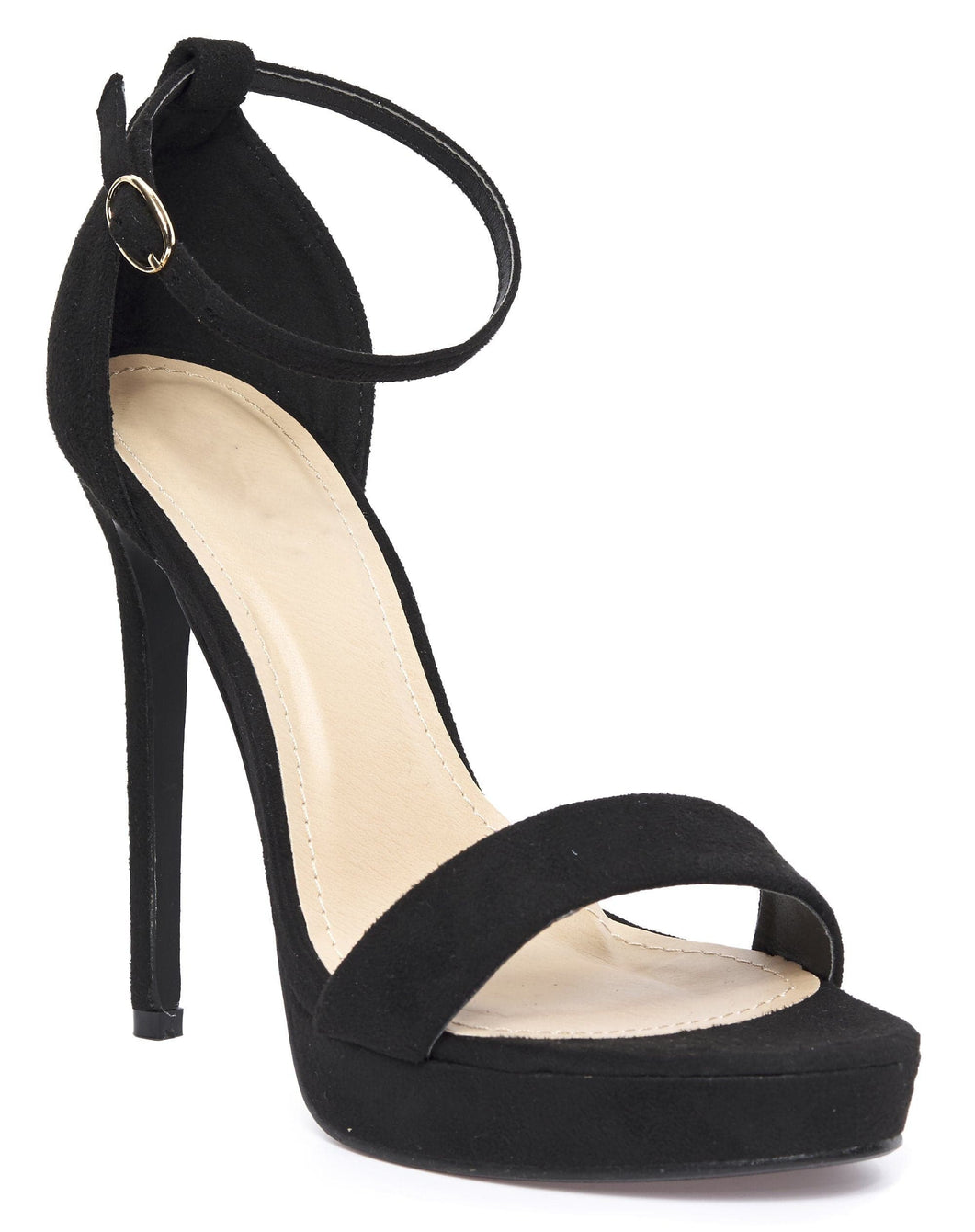 Ella Barely There Platform Sandal in Black Suede