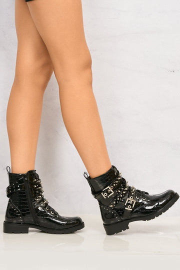 Pixxel Crossover Stud & Buckle Biker Boot In Black Croc
