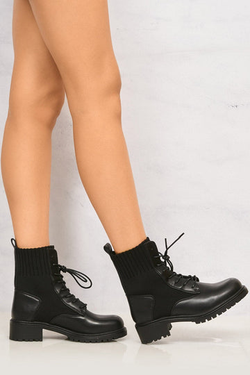 Sama Knit Panel Laceup Biker Boot in Black Matt