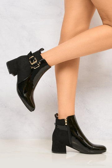 Shanie Patent Front Gold Buckle Ankle Boot in Black Patent