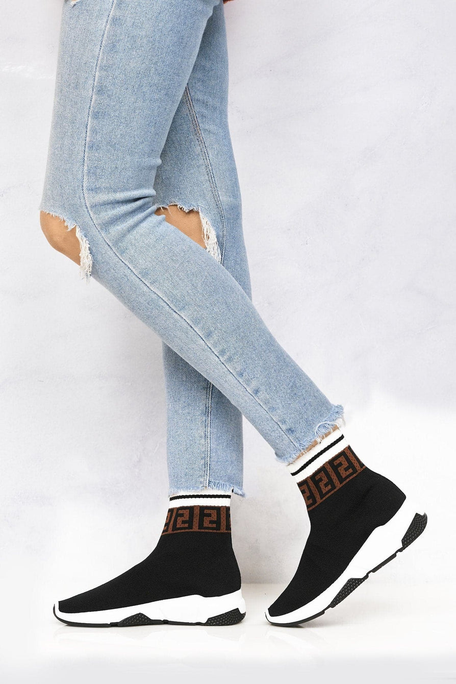 Asa Letter Band Sock Boot in Black Trainers Miss Diva