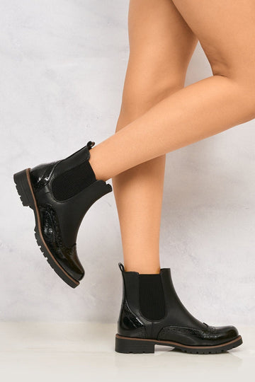 Kami Patent Toe Cleated Chelsea Boot in Black