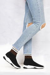 Asa Letter Band Sock Boot in Black