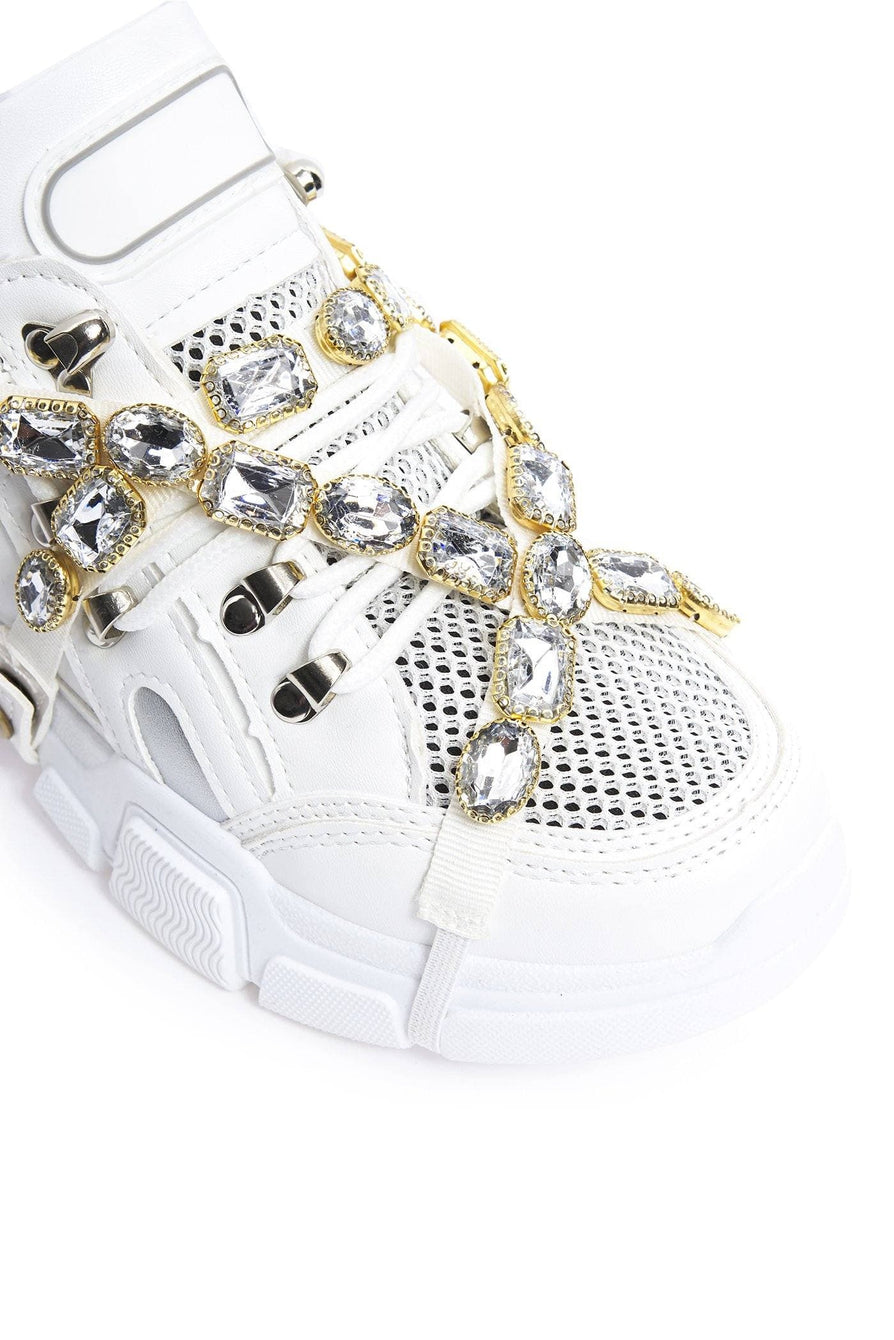 Misty Platform Trainer with Gems In White