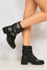 Hailey Diamante Crossover Laceup Biker Boot in Black Matt Boots Miss Diva Black Matt 3