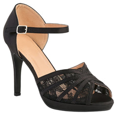 Kathryn High Heel Peep Toe Lace Detailing Ankle Strap In Black Partywear Miss Diva