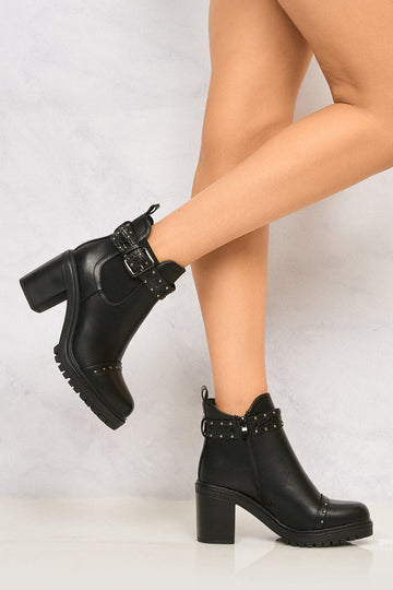 Opium Stud & Buckle Strap Cleated Boot in Black