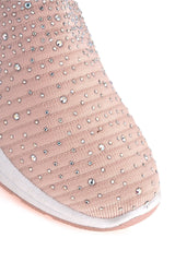 Harley Diamante Slip On Sock Trainers in Pink Trainers Miss Diva