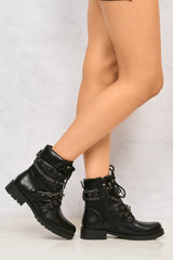 Lacey Crossover Stud & Chain Biker Boot in Black Boots Miss Diva