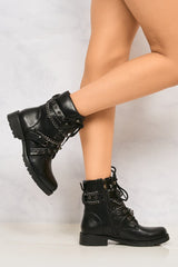 Lacey Crossover Stud & Chain Biker Boot in Black Boots Miss Diva Black 3