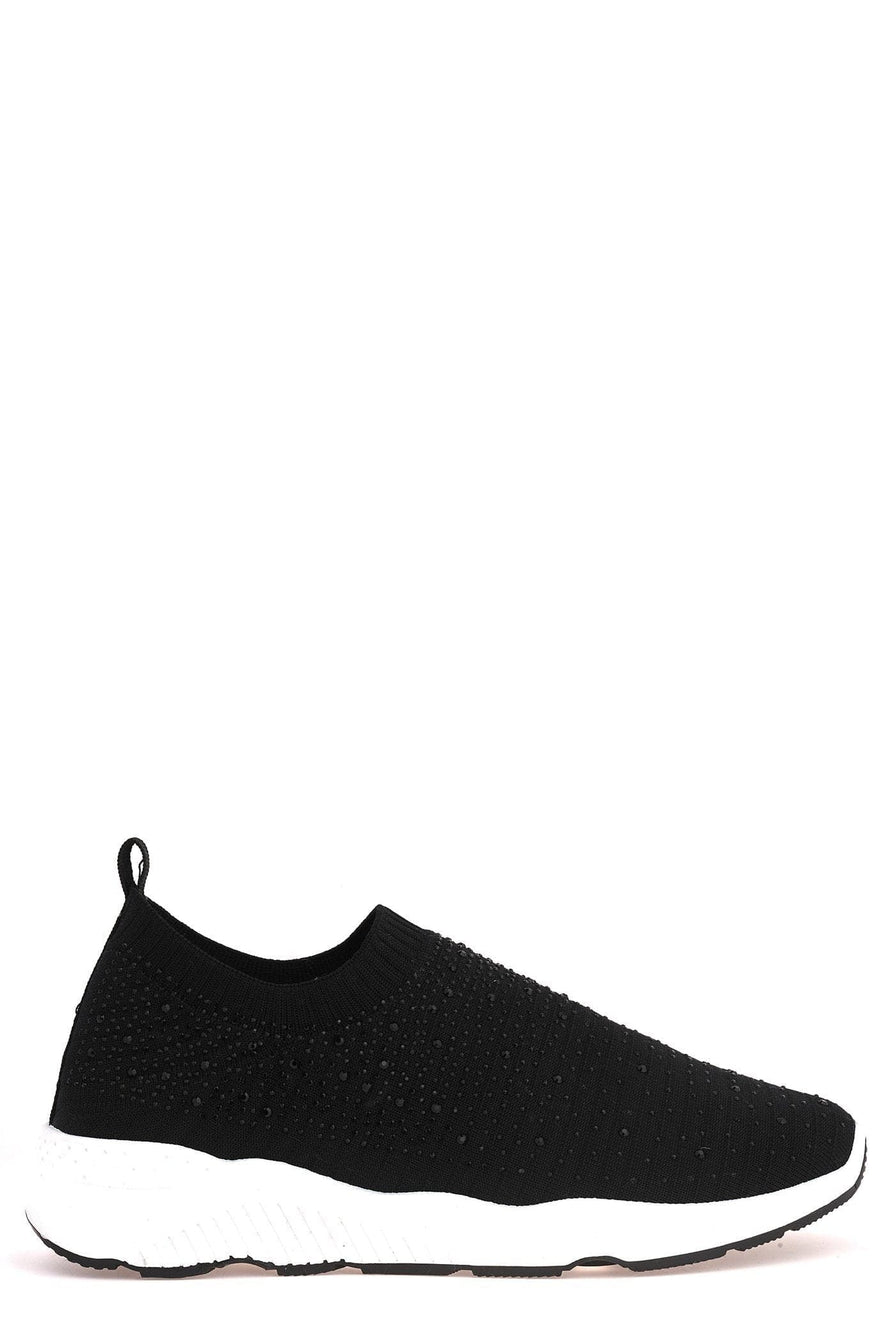 Harley Diamante Slip On Sock Trainers in Black Trainers Miss Diva