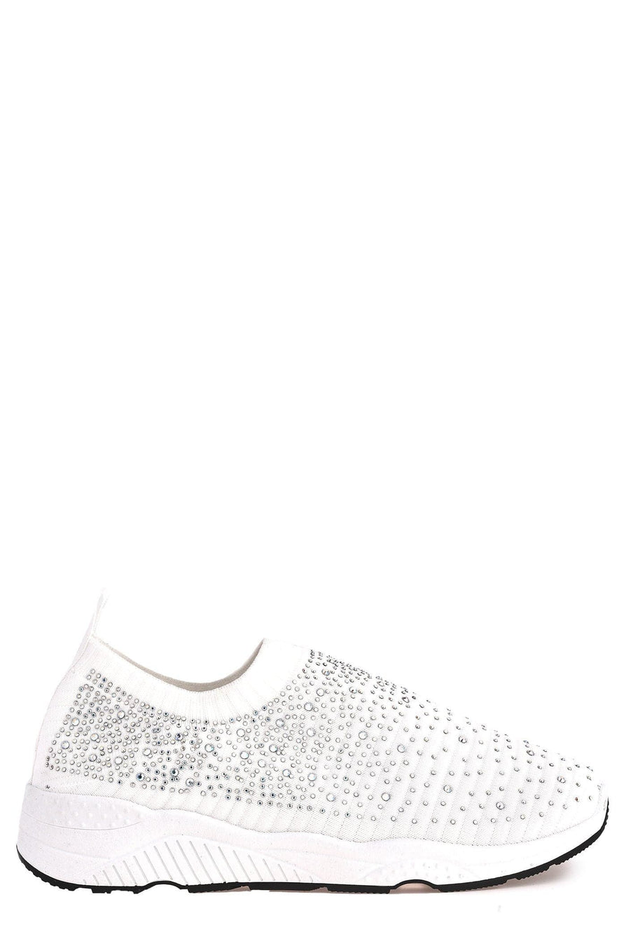 Harley Diamante Slip On Sock Trainers in White Trainers Miss Diva