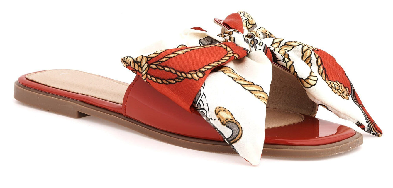 Paris Chain Print Silk Bow Open Toe Flat Sliders in Red
