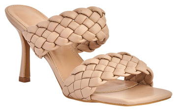 Dixie Crossover 2 Plait Strap Mule in Nude Heels Miss Diva