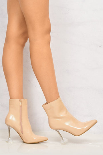Mimi Pointed Toe Spool Heel Ankle Boot in Nude