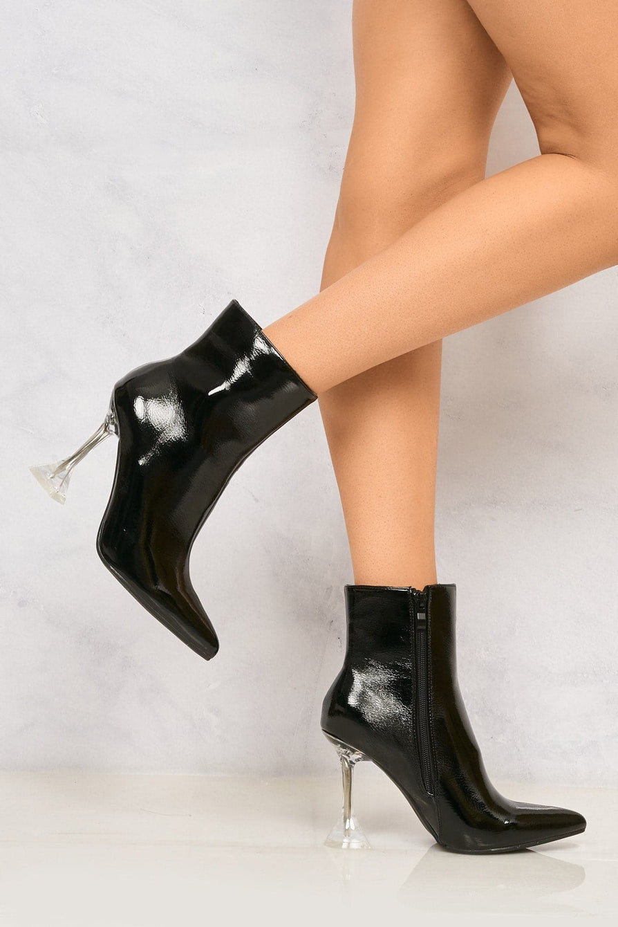 Mimi Pointed Toe Spool Heel Ankle Boot in Black Boots Miss Diva Black 3
