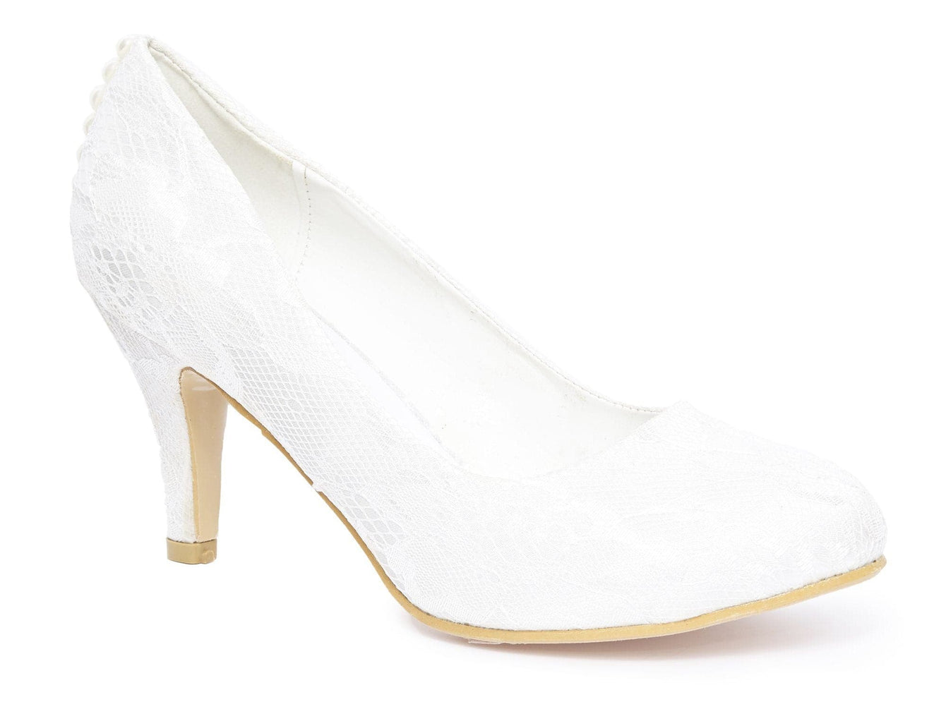Ballgown Pearl Lace Court Shoe in Ivory