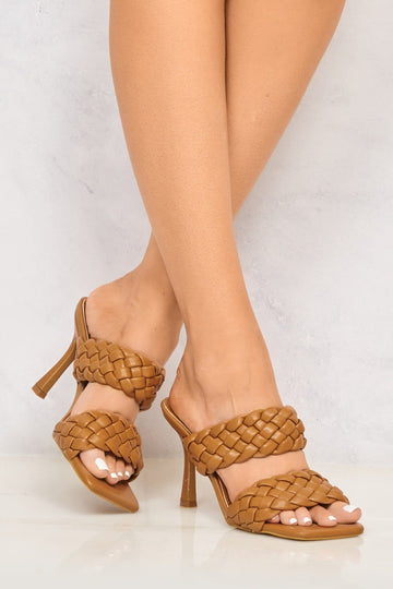 Dixie Crossover 2 Plait Strap Mule in Camel Heels Miss Diva Camel 3
