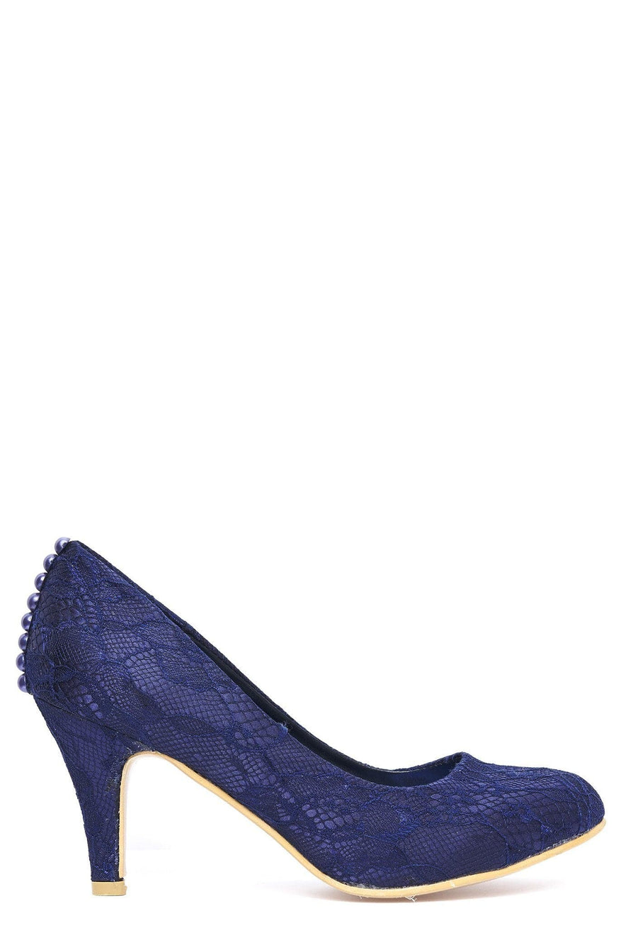Pearl Lace Court Shoe in Navy