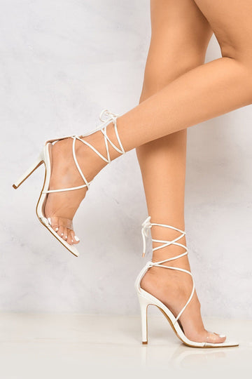 Carmen Pointed Toe Perspex Laceup Heel in White