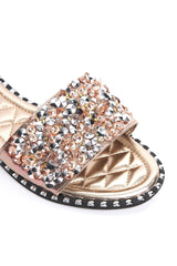 Embellished Diamante Slider in Champagne