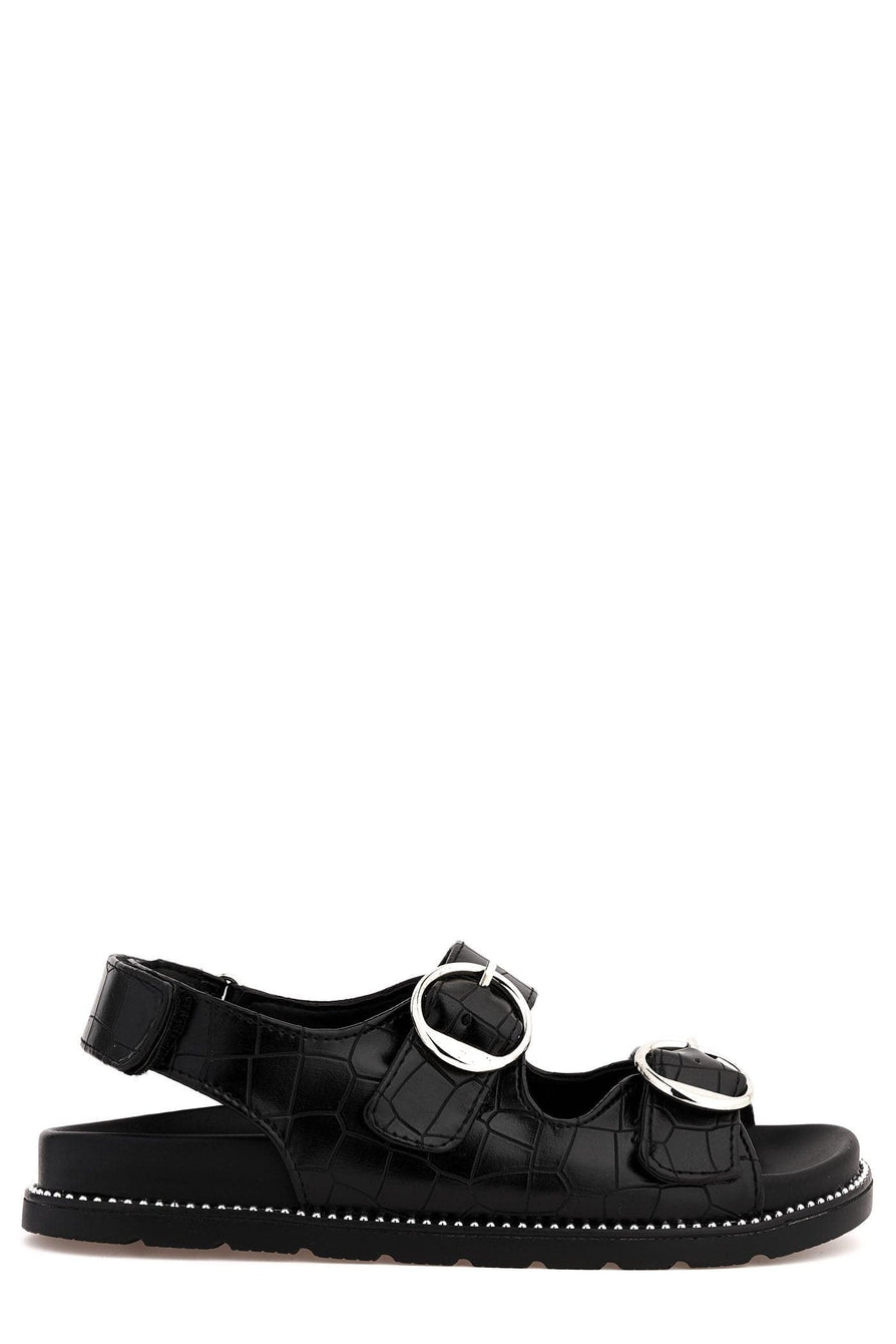 Becky 2 Strap Buckle Flat Slider in Black