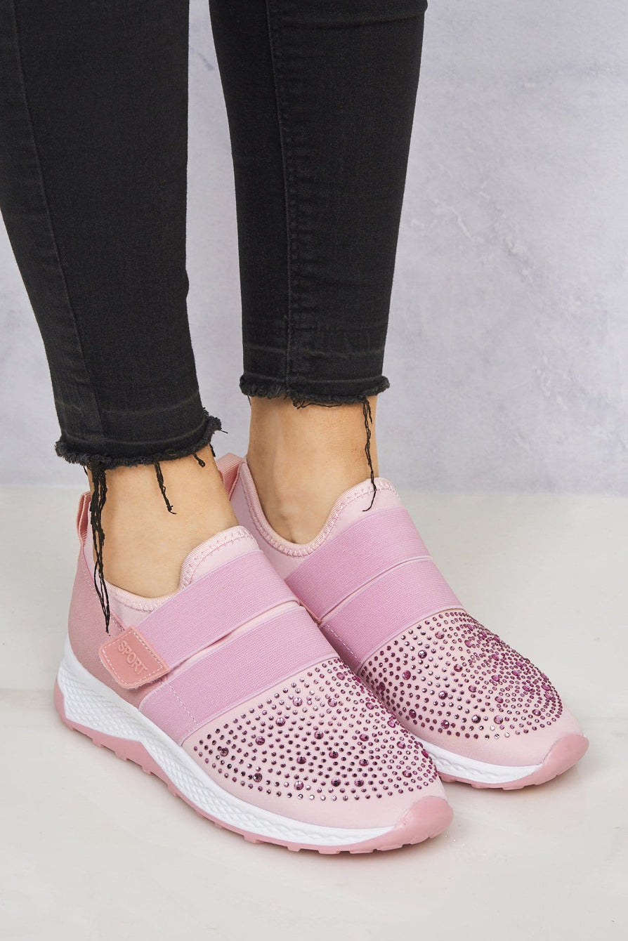 Velcro Strap & Diamante Trainer in Pink