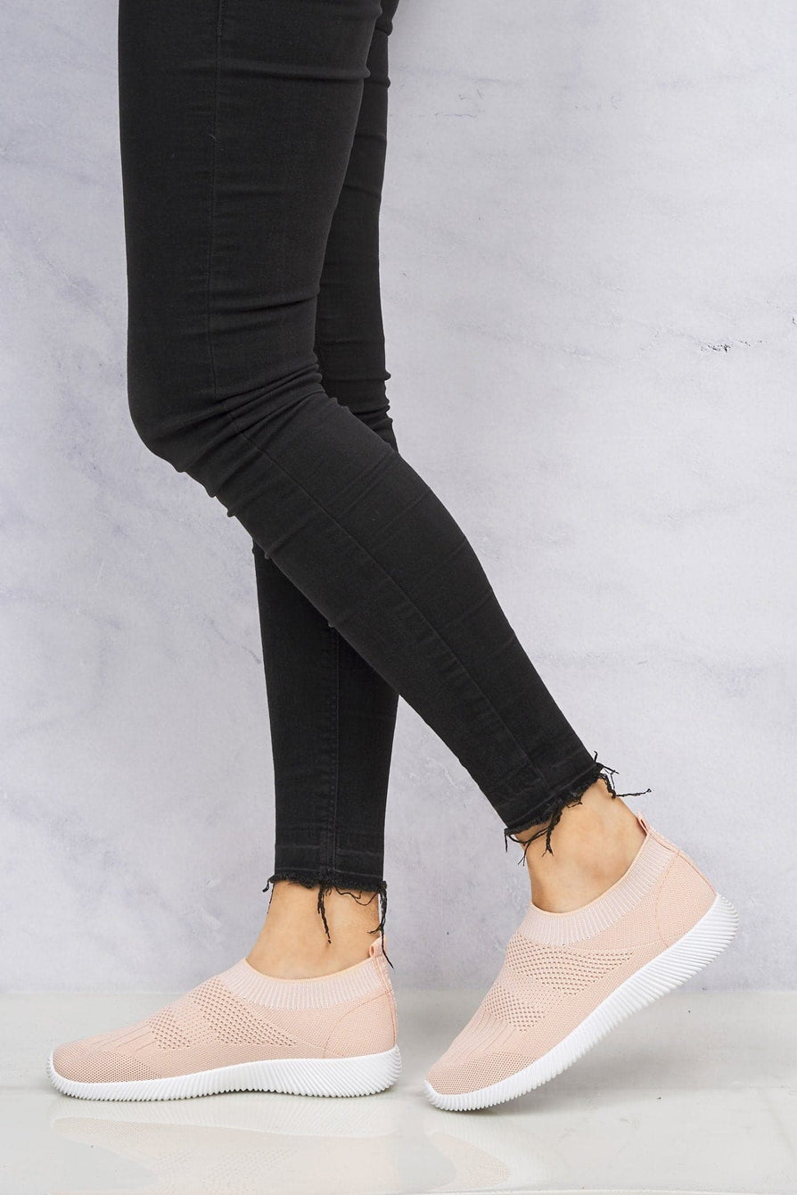 Shaughna Slip On Knitted Trainer in Pink
